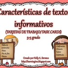 Text Features Task Cards in Spanish