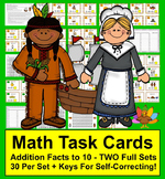 Task Cards-Addition Facts to 10 - Thanksgiving Theme - Two
