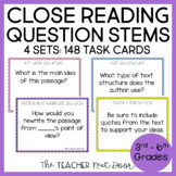 Task Cards: Close Reading Questions for Teachers 3rd - 6th Grades