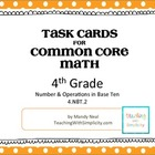 Test Prep Task Cards for 4th Grade Common Core Math (CCSS