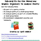 Taskcards, Tic-Tac-Toe Menu, and Graphic Organizers to Ana
