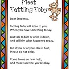 """Tattling Toby"" poster (Editable) and coupons"