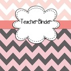 Teacher Binder Covers EDITABLE for Light Pinks/Grays Chevr