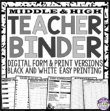 Back To School Teacher Binder For Middle High - Black and