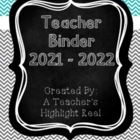Teacher Binder - Mission Organization Chalkboard & Gray/Te