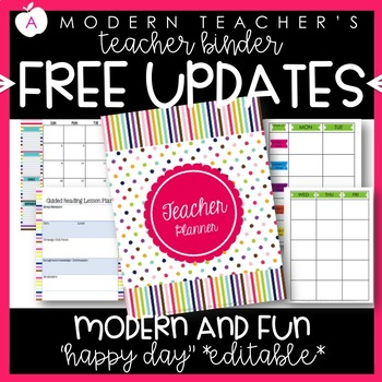 Teacher Binder (Planner & Organizer BUNDLE- Happy Day) Editable w/CCSS