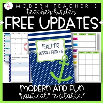 Teacher Binder (Planner & Organizer BUNDLE - Nautical) Editable w/CCSS