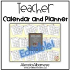 Teacher Calendar and Planner updated for 2014-2015 - EDITABLE!
