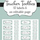 Teacher Toolbox Supply Labels: Retro Theme in Teal