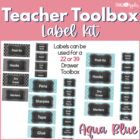 Teacher Toolkit - Aqua Blue Chalkboard (Editable)