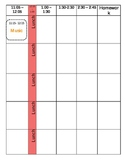 Teacher plan book template