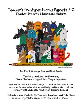 Teacher's Creatures Phonics Puppets A-Z (Teacher Set with