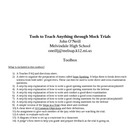 Teachers Toolbox for Mock Trials