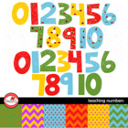 Teaching Numbers Clipart and Digital Paper by Poppydreamz