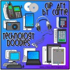 Technology Doodles digital clip art:  BW and full color PN