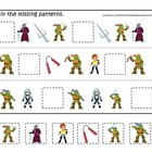 Teenage Mutant Ninja Turtles themed Missing Pattern curric