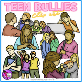 Teenage bullying clip art - color & black line