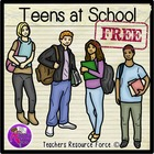 Teens at School clip art FREE - color and blackline