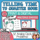 Telling Time Task Cards 32 Multiple Choice Cards, to the Q