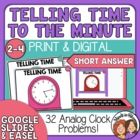 Telling Time Task Cards 32 Short Answer Cards, to the minute