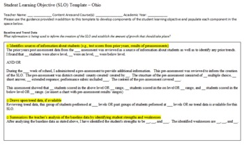 Template for Student Learning Objective - SLO -  Ohio