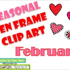 Ten Frame Clip Art *February* 0-10 heart Valentine Common