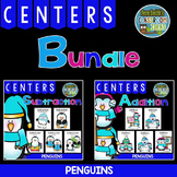 Ten Penguin Addition & Subtraction Math Centers with Inter