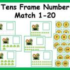 Tens Frame Number Match 1-20 Math Center - St. Patrick's D