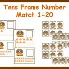Tens Frame Number Match 1-20 Math Center - Thanksgiving Turkey