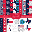 Texas Clip Art and Digital Paper with Flag, Seal, Quarter