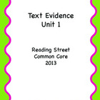 Reading Street CC 2013 Text Evidence Unit 1