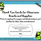 Thank You Notes for Class Snacks and Supplies-Buggy Theme