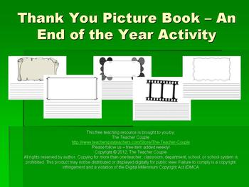 Thank You Picture Book - An End of the Year Activity