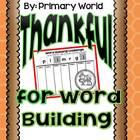 Thankful for Word Building Cut and Build