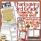 Thankful in Third - 3rd Grade Thanksgiving Unit