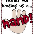 Thanks for Lending Us a Hand- Easy 'Thank You' End of Year