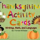 Thanksgiving Activity Cards Language, Writing, and Math