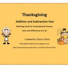 Thanksgiving Addition and Subtraction Facts Matching Game