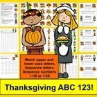 Thanksgiving Literacy Centers - ABC and 123!  Matching and