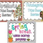 Thanksgiving, Christmas, & Spring Break Take Home Reviews BUNDLE