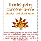 Thanksgiving Concentration: Singular and Plural Nouns