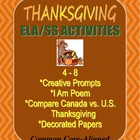 Thanksgiving Writing Bundle: Creative Prompts, I Am Poem &