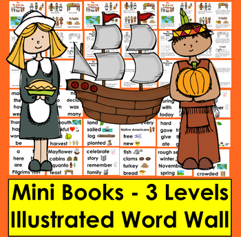 Thanksgiving Emergent Readers +Vocab.- 3 Reading Levels - 3 Versions of Ea Level