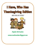Thanksgiving- I Have, Who Has Main Idea and Details