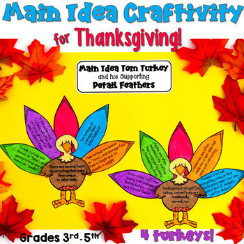 Thanksgiving Main Idea and Details craftivity (matching main idea and details)