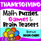 Thanksgiving Math Games Puzzles and Brain Teasers