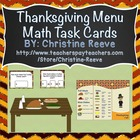 Thanksgiving Menu Math Task Cards-Free Sample in Preview {