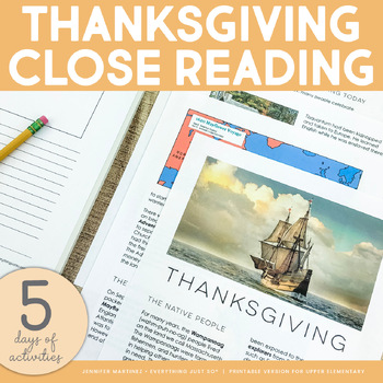 Thanksgiving Mini-Unit with Close Reading Practice