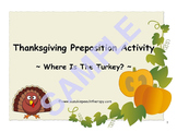 Thanksgiving Prepositions Activity