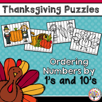 Thanksgiving Puzzles - Ordering Numbers by 1's & 10's